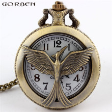 Fashion design the hunger game retro vintage pocket watch hollow bronze quartz pocket watches cool bird unisex with long chain