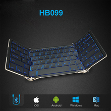 HB099 Folding wired Bluetooth keyboard Andrews flat-panel mobile phone notebook general small portable backlight Keyboards(China)