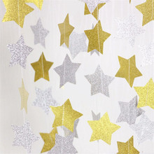Zilue 2pcs/Lot 4m Sparkles Pointed Star Flag Paper Garland Christmas Tree Ornaments Wedding Party Background Decoration(China)