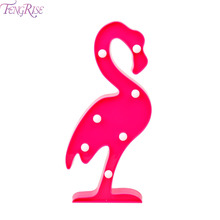 FENGRISE LED Lamp  Pink Flamingo Neon Light  AA Battery String Lights Holiday Night Fairy Light Happy Birthday Favor Party Props