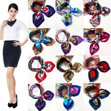Fashion Women Girls Korean Style Hotel Waiter Flight Attendants Business Printing Square Imitate Silk Scarf 50x50cm