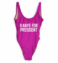 Women's Bathing Suit Swimsuit One Piece Tankini KANYE FOR PRESIDENT Body Swim Wear Pool Party Open Back High Cut Bodysuit(China)