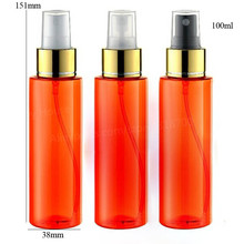 24 x 100ml New Cylinder Orange Plastic Perfume PET Mist Sprayer Bottle 100ml Fragrance Container