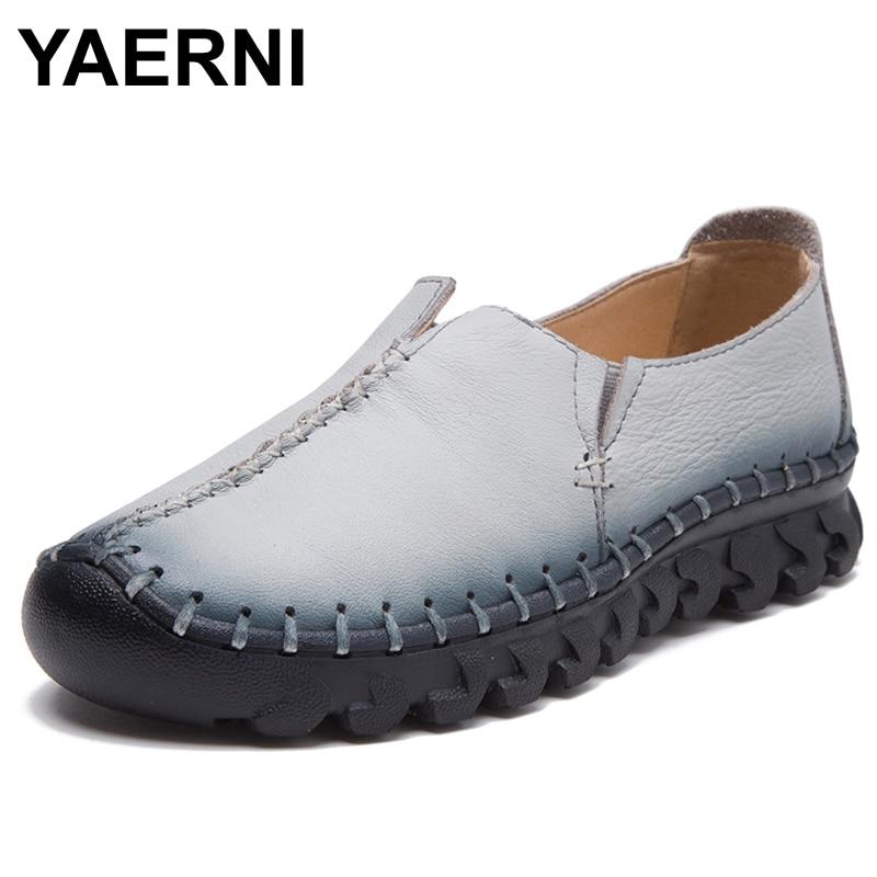 YAERNI Brand High Quality Women Genuine Leather Shoes Slip On Flats Handmade Shoes Loafers mocassin flat Womens shoes Slipony<br>