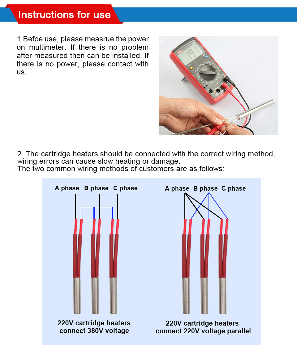 Ljxh Cartridge Heater For Molding Stainless Steel Tubular Heating Wiring Diagram Voltage Ac110v 220v 380v Wattage 380w 480w 600w Tube Size10x150mm 03959 Dxl Wire Length 30cm 118 Package 10pcs X Heaters