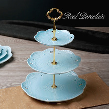 Modern Style Elegant Bone China Dessert & Fruit Plates Stand (3 Layers) with Engraving Lace Pattern for Wedding Party / Buffet(China)