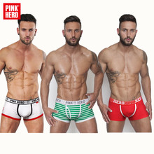 Pink Hero brand underwear cotton mens boxer shorts high quality men underwear fashion mens seamless panties sexy hot sale cheap(China)