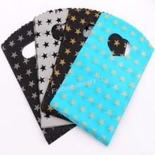 4Colors Black Grey Sky Blue With Stars Pattern Plastic Bag Gift Bags Jewelry Pouches GB003 100pcs New 9X15cm(China)