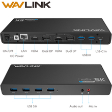 WAVLINK USB-C UNIVERSAL ULTRA 5K DOCKING STATION DUAL DISPLAY 4K VIDEO AUDIO OUTPUT SUPPORT HDMI/DISPLAYPORT FOR WINDOWS MAC OS