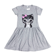 Toddler Girls Shirt Dress Summer Kids Cat Print Princess Party Skater Sundress(China)