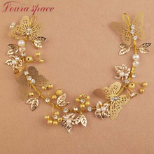 Loura Shace Wedding Bridal Hair Accessories Alloy Flower Leaf Butterfly Headbands Bride Headdress Gold Bead Pearl Hair Jewelry