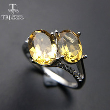 TBJ, two pieces natural brazil citrine oval cut 6*8mm gemstone ring in 925 sterling silver fine jewelry for lady with gift box