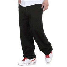 Big Size Mens Jeans Black Denim Pants Wide Leg Loose Hip Hop Harem Pants Skateboard Trousers(China)