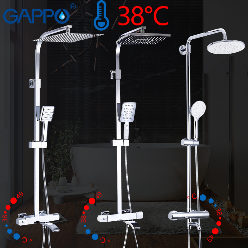 GAPPO thermostatic Bathtub Faucets shower set rainfall faucet hot and cold black Shower faucet Bathtub thermostatic shower mixer