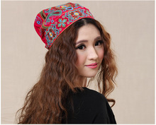 Chinese style ethnic red blue flowers embroidery hat cap headgear women 2017 autumn winter vintage design skullies beanies