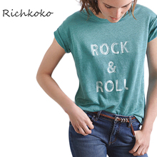 Richkoko Apparel 2017 Summer Women T-shirt Casual Green Letter Printed Female Tees Streetwear Brief Style Lady Pullover Tops