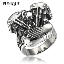 FUNIQUE 2016 New Cool Biker Ring men 316L Stainless Steel Rings Motorcycle Engine Vintage Gothic Rock Punk Jewelry Men Ring