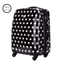 KUNDUI Cute Polka Dot Trolley case bags women travel suitcase universal wheels rolling luggage bag 18 22 26 inch With extensions(China)