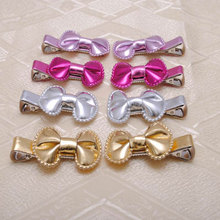2 pcs PU Leather Hair Ribbon Bow Girls Hair Clips Christmas Gift For Kids Hair Accessory