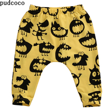 Spring Autumn Baby Pants Child Harem Long Pants Little Monster Cartoon Yellow Grey Leggings Bottoms baby Boys Girls clothes(China)