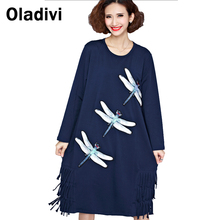 Oladivi Fashion Women Dragonfly Rhinestone Casual Loose Cotton Tassel Dress Lady Long Dresses 2017 Spring Plus Size Clothing 5XL