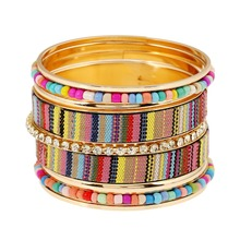2016 Fashion Bohemian Jewelry Cuff Bracelets Bangles Vintage Colorful Beads Indian Bangles For Women Pulseira Feminina(China)