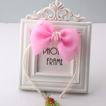 Hot  Sale Chiffon Big Bow Hair Band Girls Princess Hair Accessories Full Pearls Knot-bow Hair Ornament Cute Hair Band