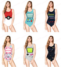 Women's Swimwear Pocket Creatures Bathing Suits PACMAN Games Bodysuit One Piece Swimsuit Handheld Game Sound Pixels