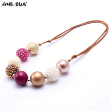 MHS.SUN 2PCS Coffee Color Kid Chunky Necklace Fashion Adjusted Rope Girl Children Bubblegum Chunky Bead Necklace Kid Jewelry(China)