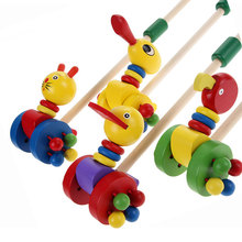 Baby Wooden Toys for Children Puzzle Colorful Putting Cartoon Animals Wooden Puzzle Trolley Kids Toys Wood Toy  Random