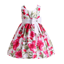 Bohemian Girl Princess Dress Floral Print Kids Frock Design Girl Wedding Dress Bridesmaid Clothes Vestidos For 2 4 6 8 10 Years