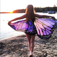 Butterfly Wings Women Colorful Soft Fabric Beach Cover Up Fairy Ladies Seaside Cover Ups Nymph Pixie Costume Accessory(China)