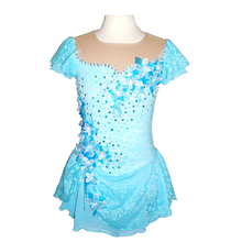 Customized Costume Ice Skating Figure Skating Dress Gymnastics Blue Adult Child Girl Show Skirt Performance Sequins Competition
