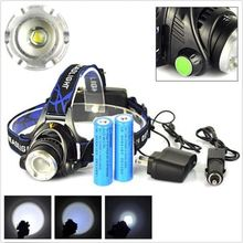 Powerful CREE XML T6 headlights Zoom waterproof 18650 rechargeable battery Led Head Lamp Bicycle Camping Hiking Light(China)