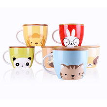 UPSTYLE Cute Coffee Mug Animal Pattern Ceramic Cup Travel Mug with Bamboo Lid for Instant Noodle Vegetables Fruit, 30.4OZ, CMBM6