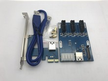 NEW blue PCIe 1 to 3 PCI express 1X slots Riser Card Mini ITX to external 3 PCI-e slot adapter PCIe Port Multiplier Card