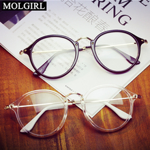 MOLGIRL 2016 Women Men Vintage Round Eyewear Frames Retro Optical Glasses Frame Eyeglasses Light Glass Goggle Oculos(China)