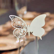 Hot 50pcs White/Pink Butterfly Place Laser Cut Escort Wine Glass Cup Paper Card for Wedding Party Home Decorations Name Cards