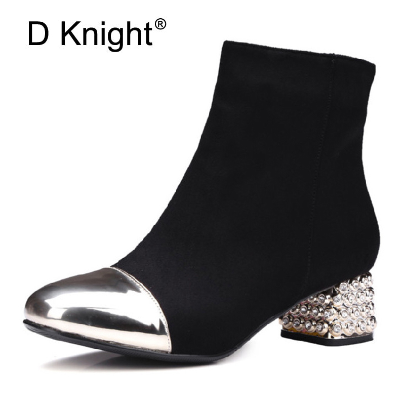 Women Fashion Winter Riding Boots Sexy Artificial Crystal Heel Metal Pointed Toe Shoes Woman Zip High Heel Short Boots Size 43<br>