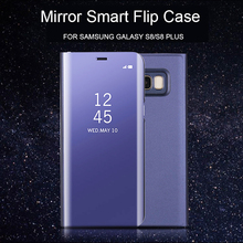 For Samsung S8 Clear View Flip Cases Electroplating Mirror Cell Phone PC Kickstand Case For Samsung Galaxy S8 Cover