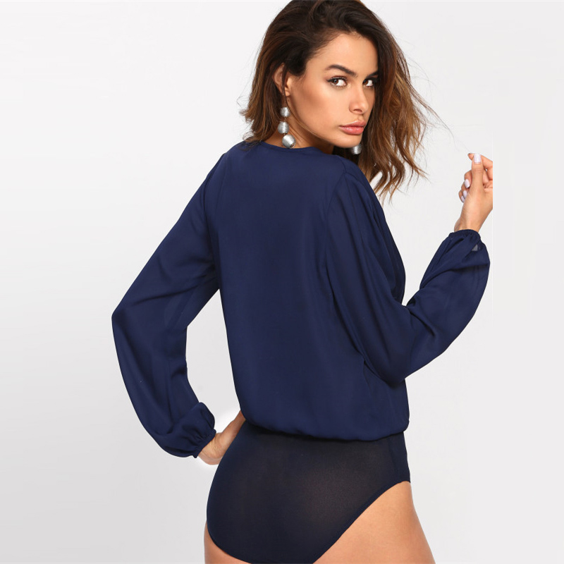 Solid Pleated Wrap Front Blouse Bodysuit, Women's, Work, Office, Navy Deep V Neck Long Sleeve, Elegant Bodysuit 21