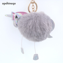 Opshineqo Cute Fluffy Unicorn Keychain fake Rabbit Fur Ball Pom Pom Key Chain Bag Women Key Ring Accessories Wholesale