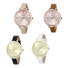 Vogue Women Girl Geneva Analog Dial Narrow Leather Strap Wrist Watch Fashion Casual Business Luxury Watch Montre Femme 2016