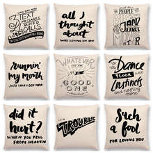 Black And White Decorative Letters Meaningful Saying Warm Words Interesting Short Sentences Cushion Cover Sofa Throw Pillow Case(China)