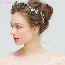 Jonnafe Boho Gold Leaf Hair Pin Bridal Headband Crystal Wedding Hair Accessories Vine Vintage Women Headpiece Tiara(China)