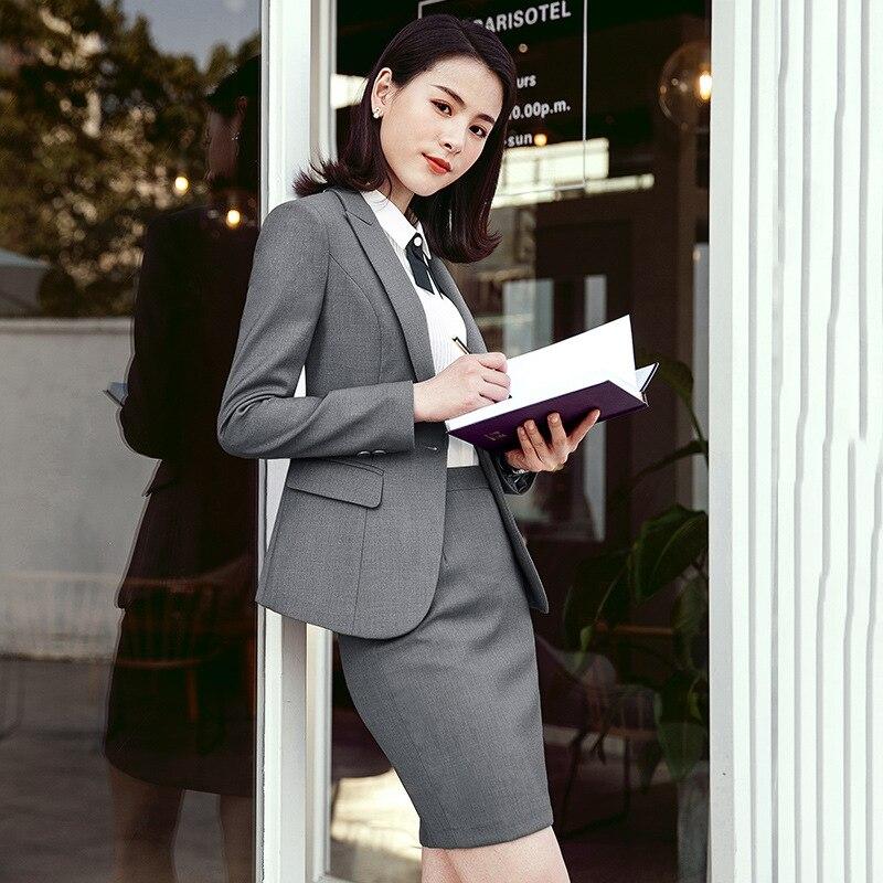 jacke + Rock Anzüge & Sets Schnelle Lieferung Frauen Lange-ärmeln Einfarbig Anzug Rock Frauen Der Formalen Berufs Tragen Frauen Anzug Zwei-stück Anzug