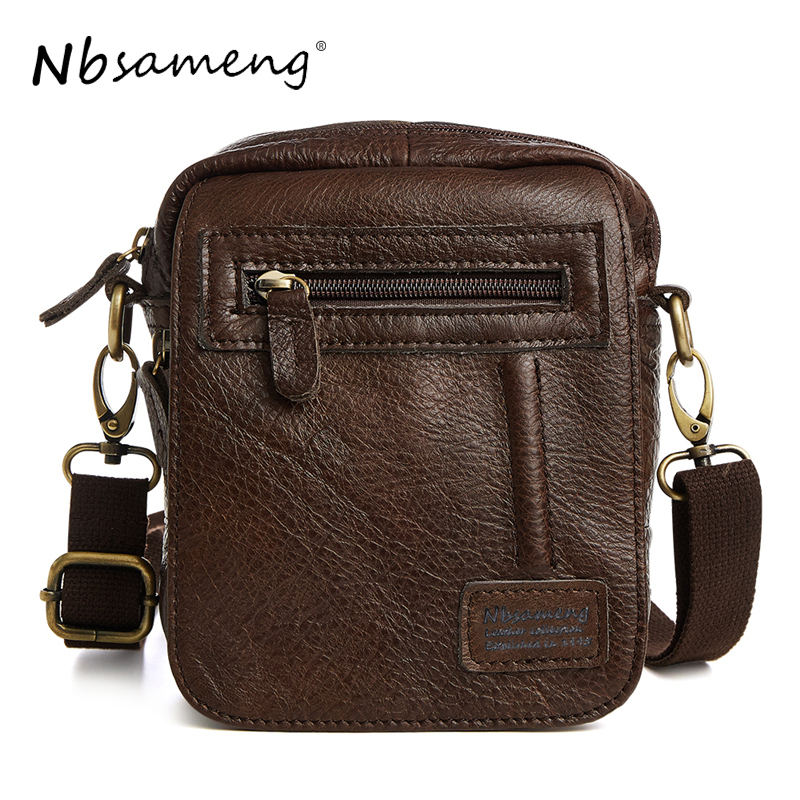 NBSAMENG New Arrival 2017 Men Genuine Leather Messenger Bags Man Crazy Horse Vintage Bag Business Tote Briefcases Casual Bags<br>