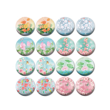 ZEROUP 16pcs Round Glass Cabochon New Flower Pictures Mixed Pattern Fit Base Earring Setting for Jewelry Flatback BCH-292(China)