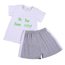 Elegant Baby boy New 2017 Summer Short Sleeve Set Set Cartoon Letter T-shirt + Shorts Baby Boy Clothing