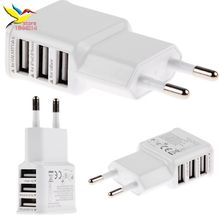 for samsung EU Plug 3 Ports USB Wall Travel Charger Adapter for Iphone 6 6S for Samsung IOS Android good quality 5V 2A 300 pcs